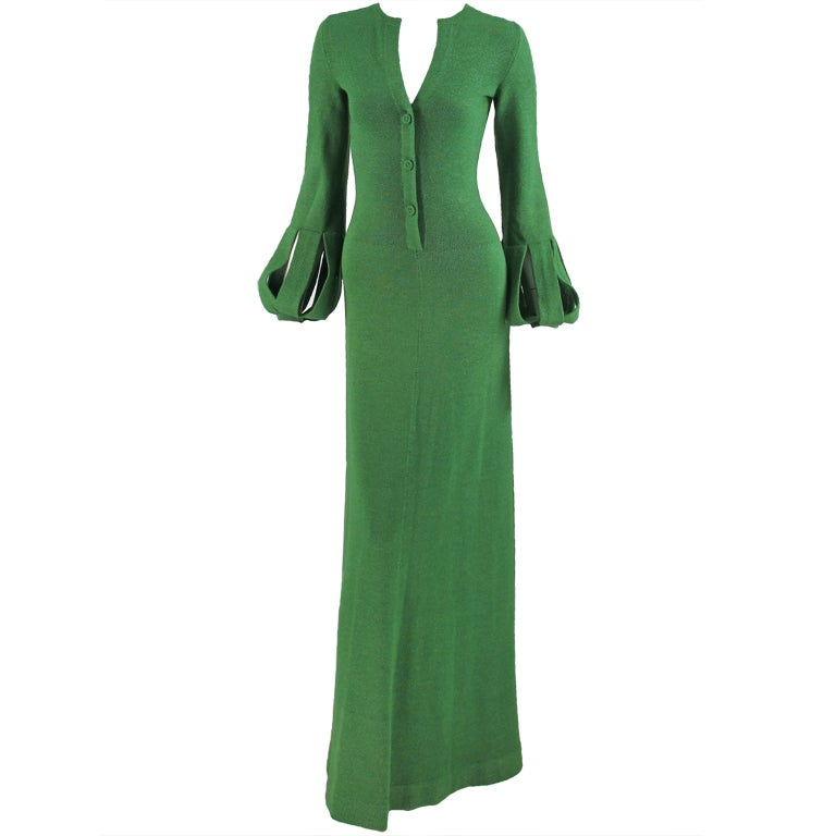 Adolfo boucle cage sleeve hostess gown 1970s 1