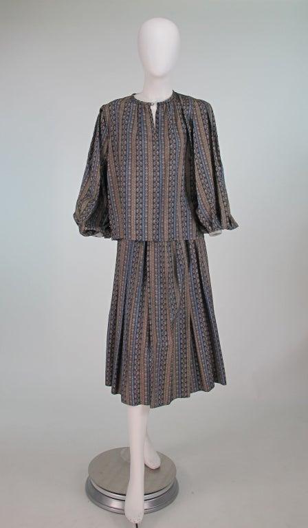 Yves St Laurent 70's silk gypsy blouse and skirt ensemble 2