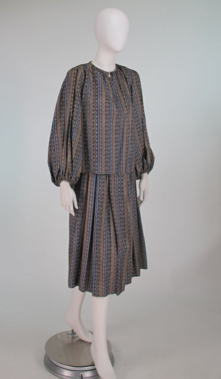 Gray Yves St Laurent 70's silk gypsy blouse and skirt ensemble For Sale