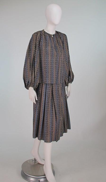 Yves St Laurent 70's silk gypsy blouse and skirt ensemble 3