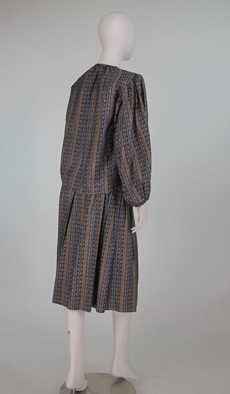 Women's Yves St Laurent 70's silk gypsy blouse and skirt ensemble For Sale