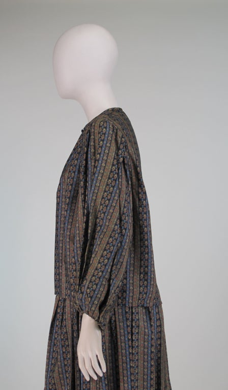 Yves St Laurent 70's silk gypsy blouse and skirt ensemble For Sale 2