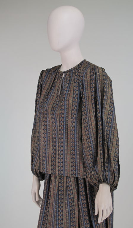 Yves St Laurent 70's silk gypsy blouse and skirt ensemble For Sale 3