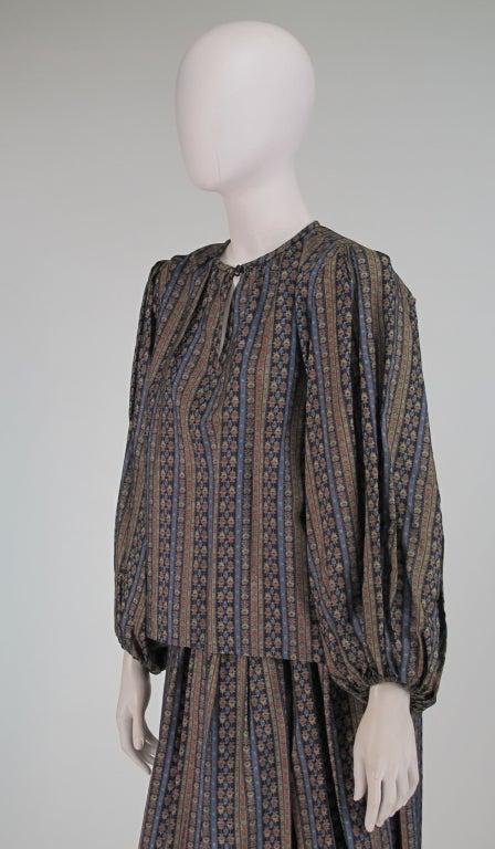 Yves St Laurent 70's silk gypsy blouse and skirt ensemble 8