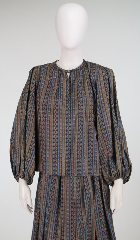 Yves St Laurent 70's silk gypsy blouse and skirt ensemble For Sale 4