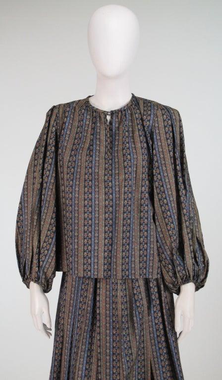 Yves St Laurent 70's silk gypsy blouse and skirt ensemble 9
