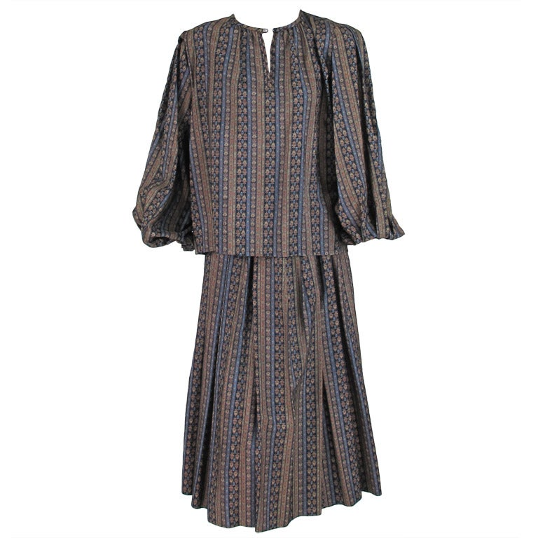 Yves St Laurent 70's silk gypsy blouse and skirt ensemble For Sale