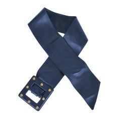 Yves St Laurent YSL wide dark blue leather belt with studded buckle