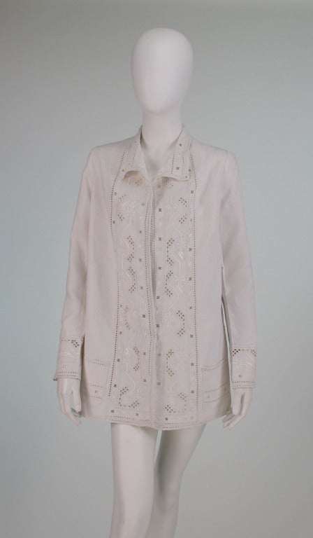 1920s Hand Embroidered Linen Jacket At 1stdibs