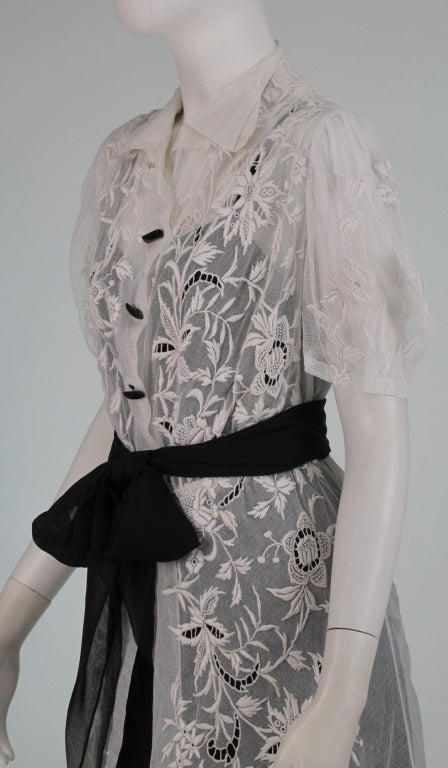 French Densley Embroidered Tulle Dress 1930s At 1stdibs
