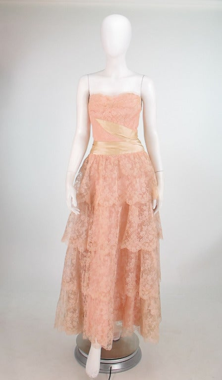 1950s Rosalie Macrini strapless tiered lace evening gown 2