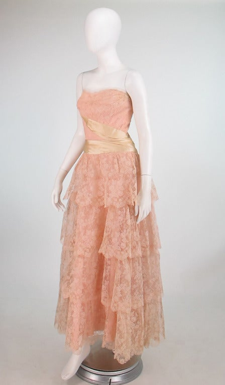 1950s Rosalie Macrini strapless tiered lace evening gown 3