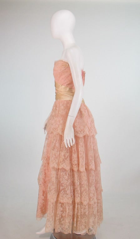 1950s Rosalie Macrini strapless tiered lace evening gown 4