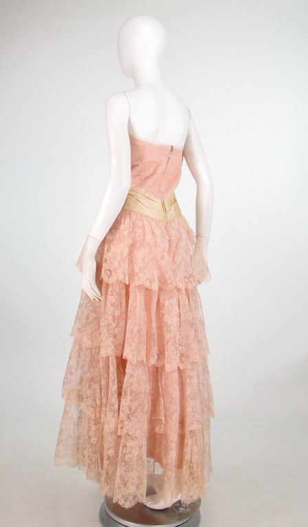 1950s Rosalie Macrini strapless tiered lace evening gown 5