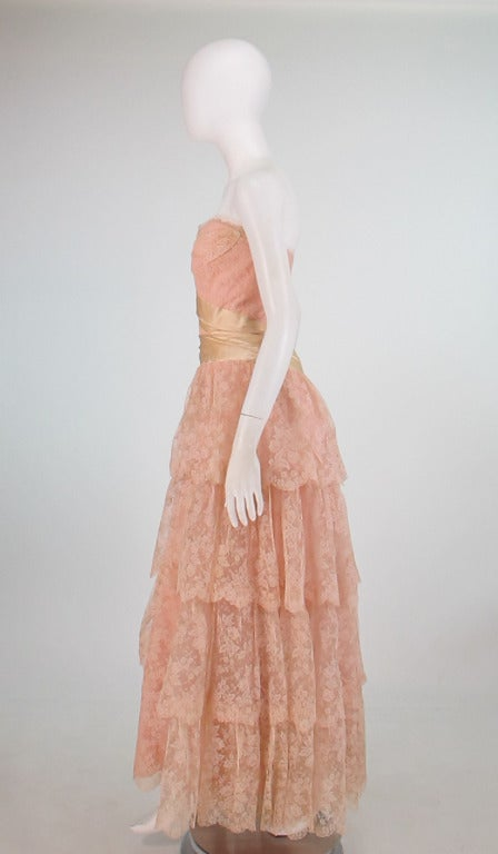 1950s Rosalie Macrini strapless tiered lace evening gown 6