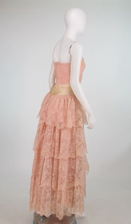 1950s Rosalie Macrini strapless tiered lace evening gown 7
