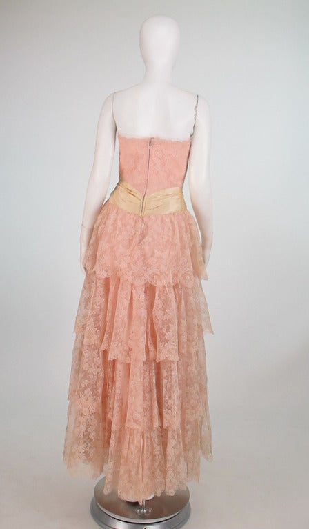 1950s Rosalie Macrini strapless tiered lace evening gown 9