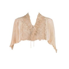 1940s Trousseau Cape in Ivory Pleated Silk Satin and Duchesse Lace