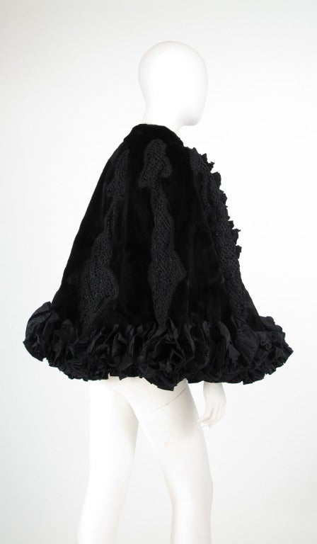 Black Oscar de la Renta Couture beaded fur evening cape For Sale