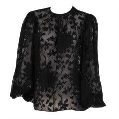 Oscar de la Renta sheer woven silk chiffon blouse
