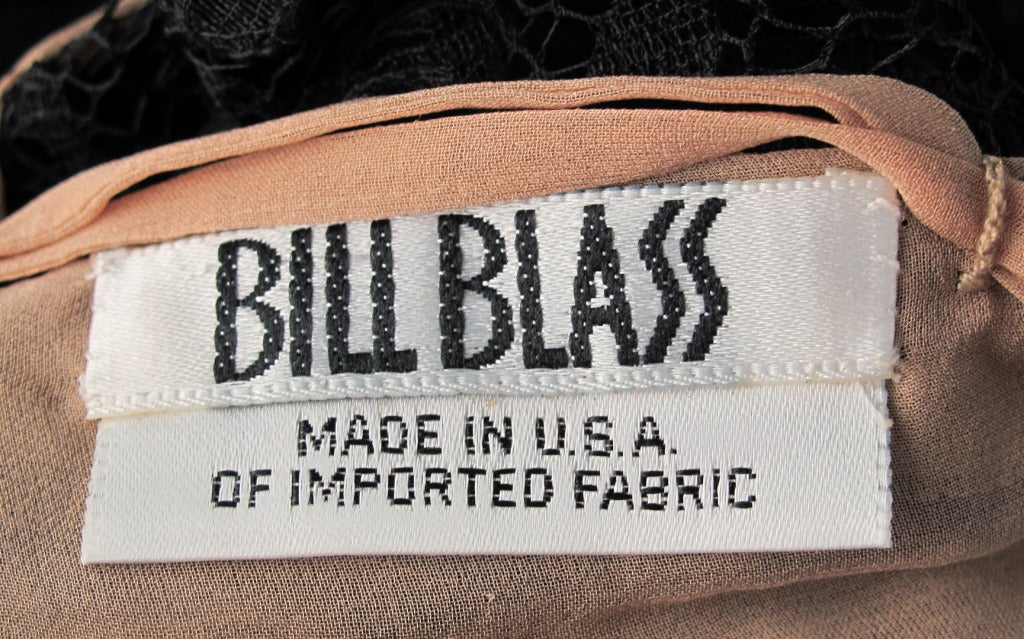 Bill Blass bell sleeve black lace plunge cocktail dress 1970s 10