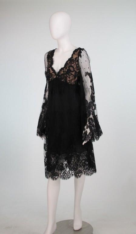 Bill Blass bell sleeve black lace plunge cocktail dress 1970s 2