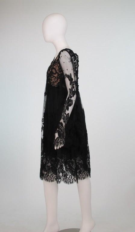 Bill Blass bell sleeve black lace plunge cocktail dress 1970s 3
