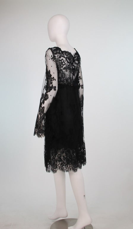 Bill Blass bell sleeve black lace plunge cocktail dress 1970s 4