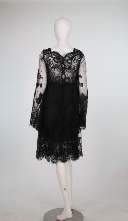 Bill Blass bell sleeve black lace plunge cocktail dress 1970s 5