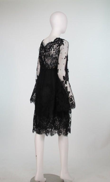 Bill Blass bell sleeve black lace plunge cocktail dress 1970s 6