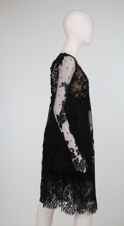 Bill Blass bell sleeve black lace plunge cocktail dress 1970s 7