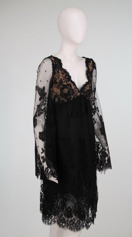 Bill Blass bell sleeve black lace plunge cocktail dress 1970s 8