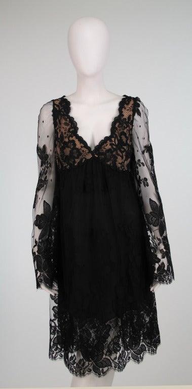 Bill Blass bell sleeve black lace plunge cocktail dress 1970s 9