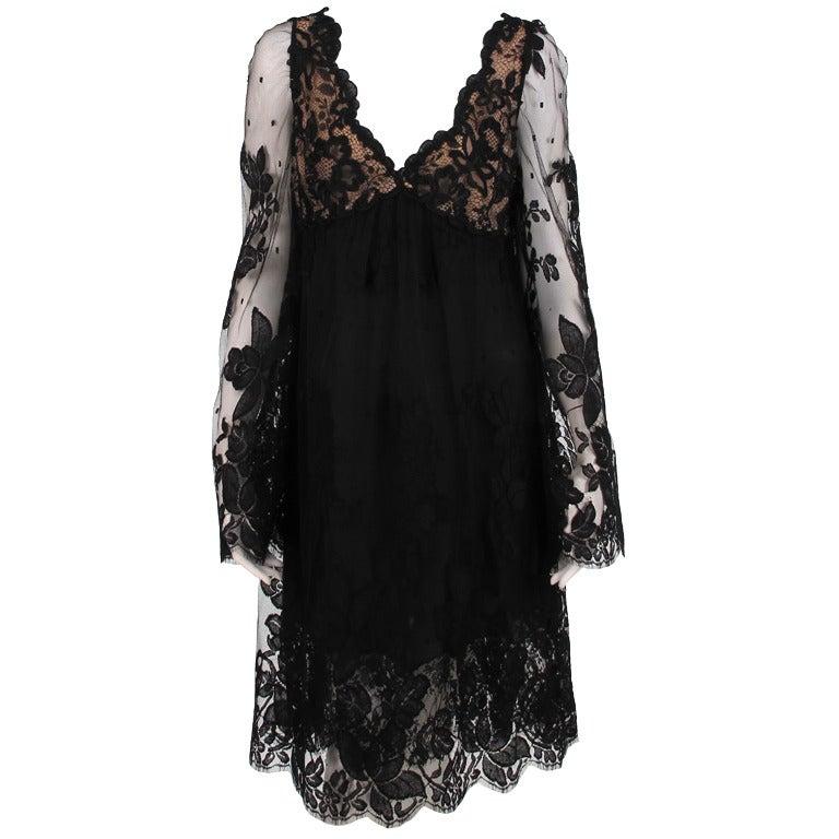 Bill Blass bell sleeve black lace plunge cocktail dress 1970s 1