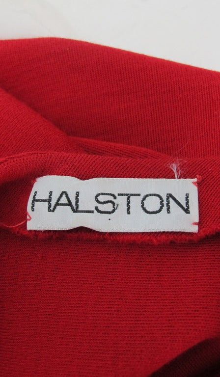 Halston spiral cut knit dress in red 1970s For Sale 5