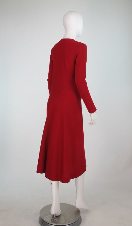 Red Halston spiral cut knit dress in red 1970s For Sale