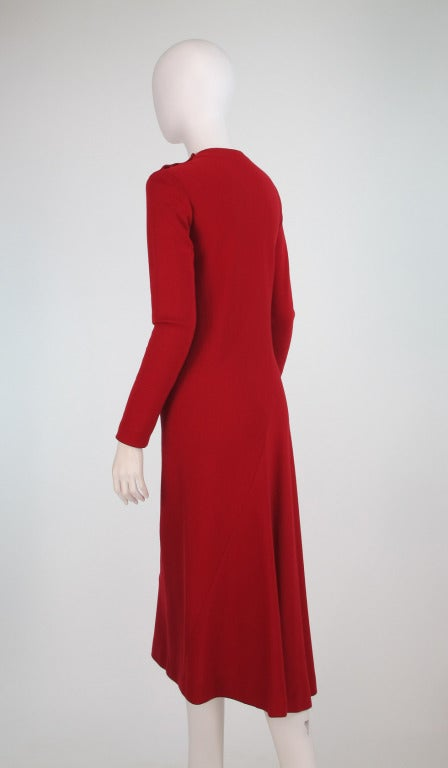 Women's Halston spiral cut knit dress in red 1970s For Sale