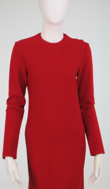 Halston spiral cut knit dress in red 1970s For Sale 1
