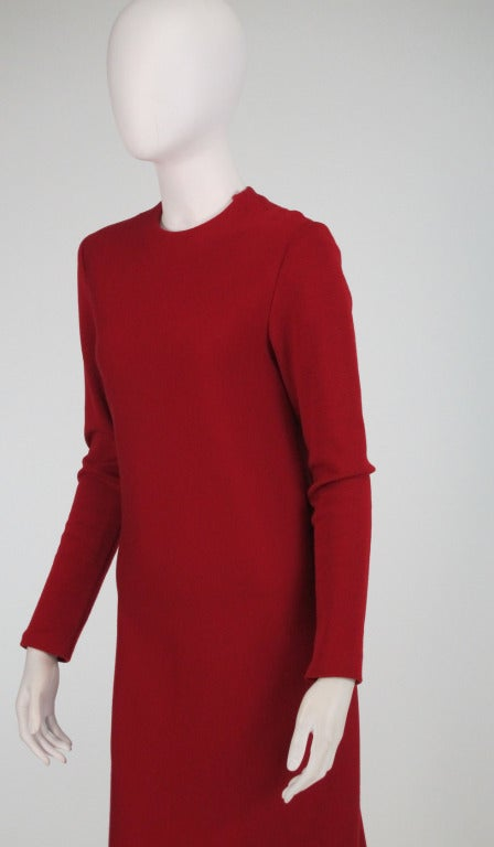 Halston spiral cut knit dress in red 1970s For Sale 2