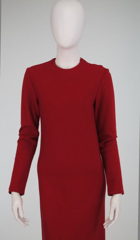 Halston spiral cut knit dress in red 1970s For Sale 3
