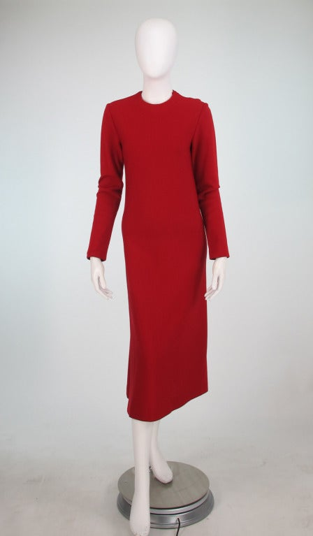 Halston spiral cut knit dress in red 1970s For Sale 4