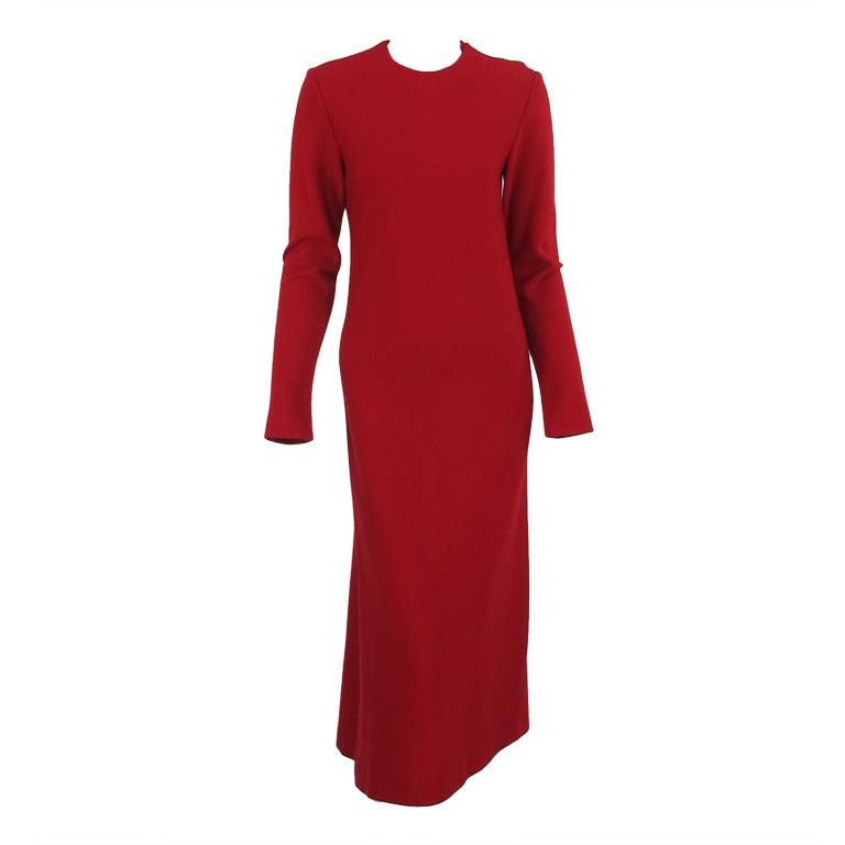 Halston spiral cut knit dress in red 1970s