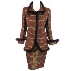 Quadrille Couture New York mink trimmed brocade suit