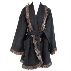 1980s Fendi fur trimmed wrap coat