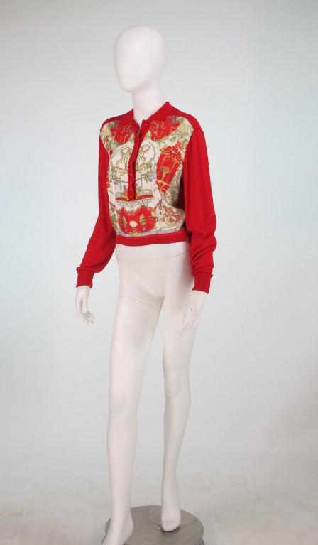 Etro silk print & knit sweater 2