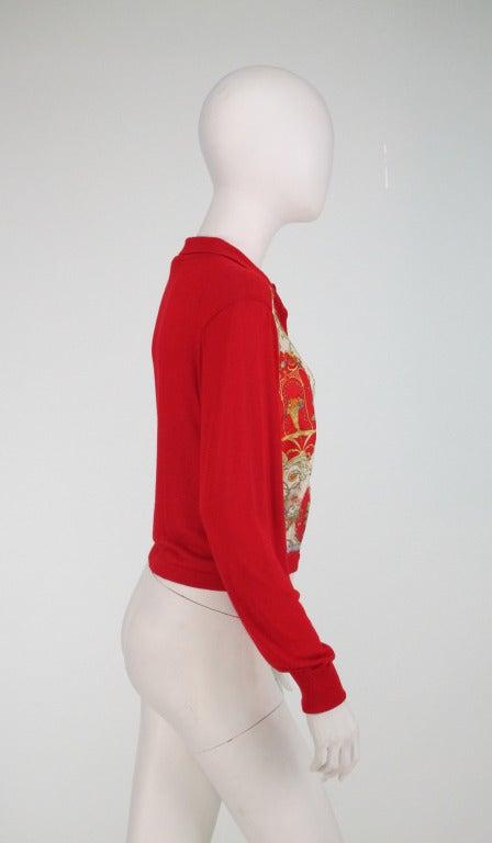 Etro silk print & knit sweater 6