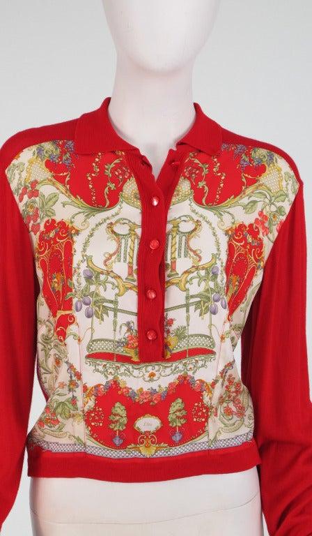 Etro silk print & knit sweater 8