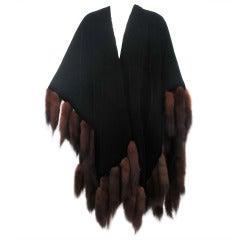1980s Adrienne Landau Lux black velvet & sable tail fur cape