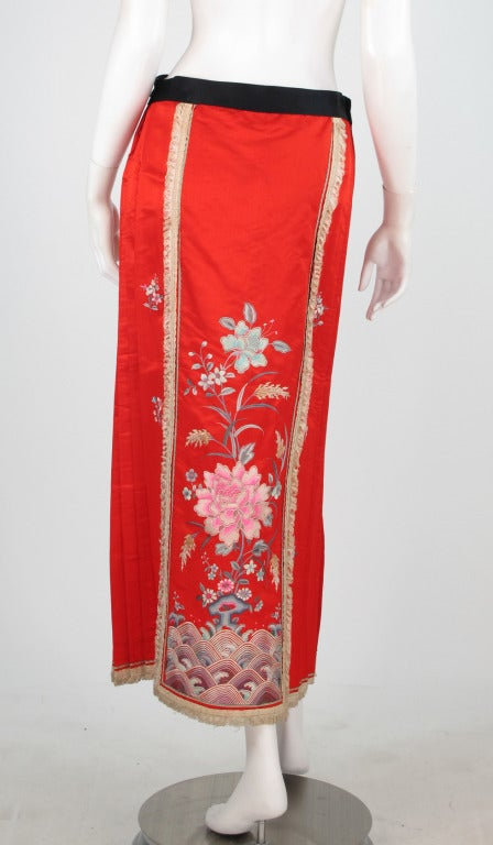 1920s silk embroidered Chinese evening skirt 6