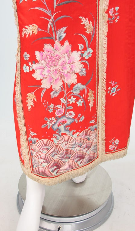 1920s silk embroidered Chinese evening skirt 9